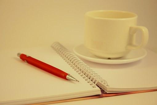 Writer, Notepad, Coffee cup, Creative arts, Creative writing.