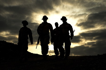 Silhouettes, Military, Training, Drills, Walking, Soldiers.